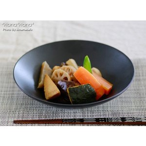 ブラックシリーズ シンプルサークル 平浅鉢 20cm キャッシュレス 還元|hana2