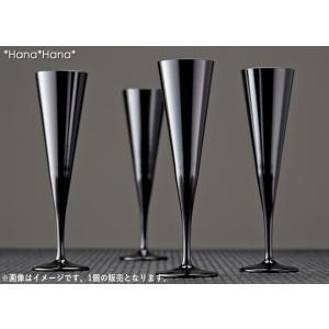 カラーズ/ブラック イプシロン フルートシャンパングラス 160ml 1個 ガラス漆加工 キャッシュレス 還元|hana2