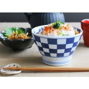 福々 くらわんか碗 11.5cm 藍染市松 有田焼 キャッシュレス 還元|hana2
