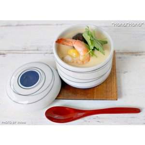 手描き渦潮ライン 紺 茶碗蒸し碗 190cc キャッシュレス 還元|hana2