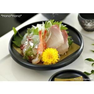 黒釉金彩角柄 丸刺身皿 刺身鉢 15.6cm キャッシュレス 還元