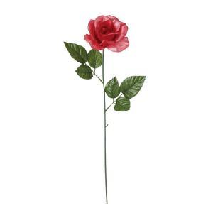 造花 YDM シャイニーローズシングル レッド FS -6961-R|造花 バラ 造花 花材「は行」 バラ