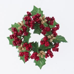 造花 アスカ ミニベリーリース   AX68631-0 リース完成品 造花の画像