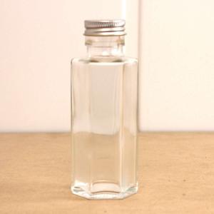 即日 ハーバリウム瓶 六角 100ml アルミ銀キャップ付 00 花資材 道具 ハーバリウム材料 ハーバリウム 瓶