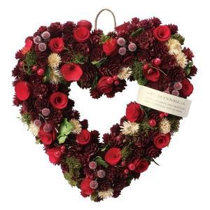 SALE GREENHOUSE CMハートリースL クリスマスツリーフルーツ CM988-A 01  リース完成品 天然素材|hanadonya