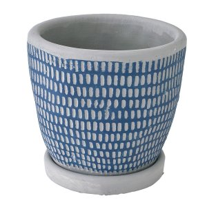 SPICE レリーフ プランター ドットライン ブルー CCGH1820BL 01  2個 ポット 鉢 セメント hanadonya