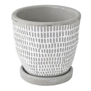 SPICE レリーフ プランター ドットラインホワイト CCGH1820WH 01  2個 ポット 鉢 セメント|hanadonya