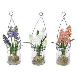 人工観葉植物 SPICE ガラスポット入りムスカリ 3色アソート TADY6068 12個 人工観葉植物「か行」 カジュアルポット|hanadonya