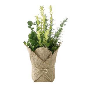人工観葉植物 SPICE ジュートポット入りフェイクグリーン ミックスハーブ TADY7050 2個 人工観葉植物「か行」 カジュアルポット|hanadonya