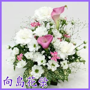 供花 カーネーションとカラーのお供えアレンジメント