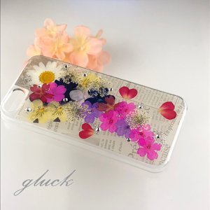 61a721ac6b iphone5 iphone5SE ケース No.1 お花屋さんのハンドメイド 押し花&レジン 英字・ ...