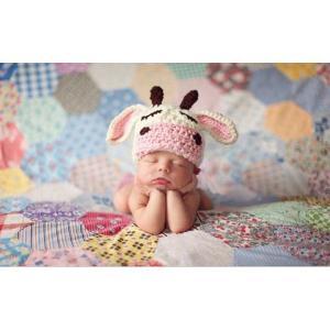 ベビー コスチューム 出産祝い 寝相アート牛のニット帽|hanahanahanahana