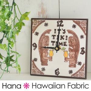 アートタイルクロック ティキ タイム 15.2cm×15.2cm ハワイアンセラミックタイル アートタイル デザインタイル 置き時計 壁掛け時計 タイ hanahawaii