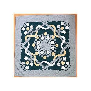 ハワイアンキルト タペストリー マルチカバー 正方形 キルト 152×152 コットン100% ハイビスカスレイ×モスグリーン 壁掛け カバー ラグ|hanahawaii