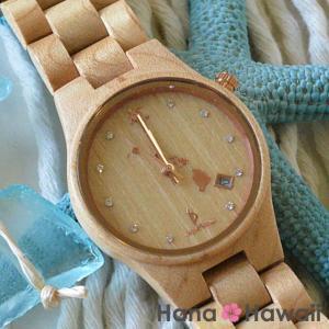 【あすつく 即日発送対応】 ビーン & バニラ レディースサイズ 天然メイプルウッド ウォッチ ホワイトフェィス 直径33mm シチズンクオーツ 木製 腕時計 オア|hanahawaii
