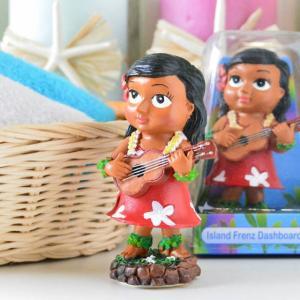 ハワイアン雑貨 ミニチュアダッシュボートドール ケイキウクレレ キッズ 子供 ハワイアンフラドール 人形 フラダンス フラ インテリア雑貨 カーアクセ|hanahawaii
