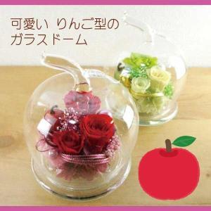 プリザーブドフラワー ガラス ドーム 誕生日ギフト リンゴ型...