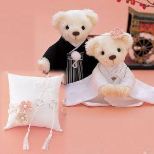 結婚式にお揃い手作りキット「和装 白無垢 和装ウェディングベア・リングピローセット」和風CLK69-139-312|hanakobo-wedding