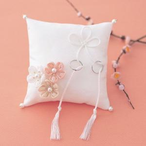 結婚式の手作りキット「和風 几帳結びと梅の花・白」和のリングピローCLK69-312|hanakobo-wedding