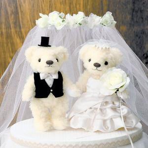 手作りキット「ウェディングベア・エレガントパール」結婚式、ウェディングにCLK69-703|hanakobo-wedding