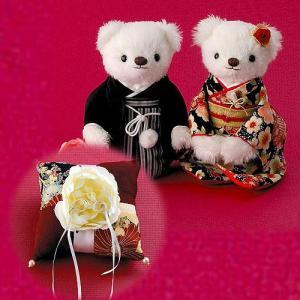 結婚式の和のお揃い手作りキット「和モダン 雅桜ウェディングベア・リングピローセット」CLK69-707-001|hanakobo-wedding