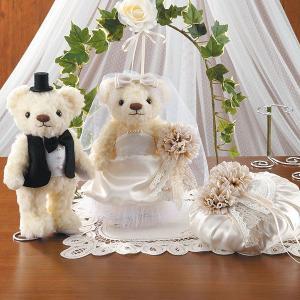 結婚式 お揃い手作りセット「アンティークアイボリー・ウェディングベア&リングピロー」ウェディングの演出にCLK79-793-795|hanakobo-wedding