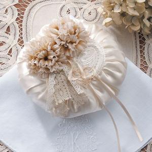 手作りキット「リングピロー・アンティークアイボリー」結婚式、ウェディングにCLK79-795|hanakobo-wedding