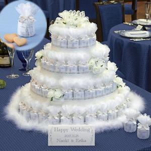 【送料無料!】レースとファーに包まれたウェディングケーキ型のプチギフト  ●ファーで飾られたピュアホ...