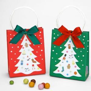 クリスマス お菓子のプチギフト配る「クリスマスツリーバッグ(パフチョコ)」 業務用 大量 個包装 結婚式 RFP-XB30RG hanakobo-wedding