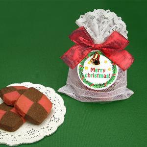 クリスマス お菓子のプチギフト配る「クリスマスレースポーチ(スクエアクッキー)」 業務用 大量 個包装 結婚式 イベントギフト RFP-XRP45 hanakobo-wedding