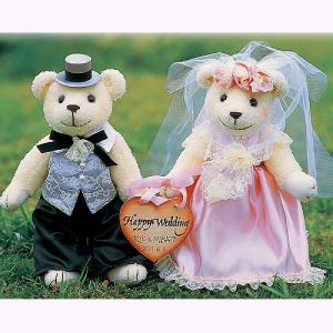 結婚式の手作りキット「メモリアル・ピンク」ハートプレート付きウェディングベアTAK-MEB1|hanakobo-wedding