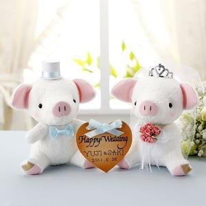 結婚式の手作りキット「おすわりぶーちゃん・ホワイト」ハートプレート付きウェディングピッグTAK-PG3 hanakobo-wedding