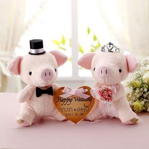 手作りキット「おすわりぶーちゃん・ピンク」ハートプレート付きウェディングピッグTAK-PG4|hanakobo-wedding