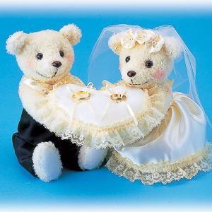 結婚式の手作りキット「クマのリングピロー・クリーム」ウェディングベア&リングピローTAK-RP1|hanakobo-wedding