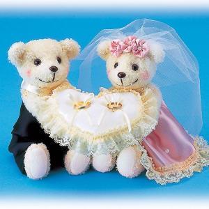 結婚式の手作りキット「クマのリングピロー・ピンク」ウェディングベア&リングピローTAK-RP2|hanakobo-wedding