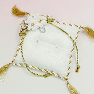 結婚式の手作りキット「お花のリングピロー・白金」和のリングピローTAK-RP5|hanakobo-wedding