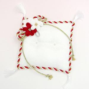 結婚式の手作りキット「お花のリングピロー・赤金」和のリングピローTAK-RP6|hanakobo-wedding