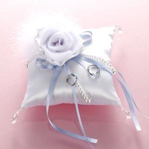 手作りキット「モダンリングピロー・ホワイト」結婚式、ウェディングにTAK-RP9|hanakobo-wedding
