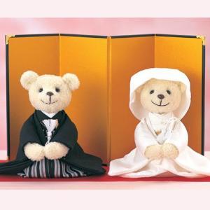結婚式の手作りキット「しあわせくまさん(座ったタイプ)」和装ウェディングベアTAK-SK2|hanakobo-wedding