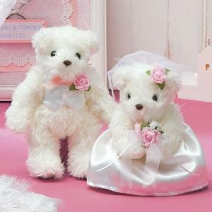 結婚式 手作りキット「天使のホワイトベア・ピンク」ウェディングベアTAK-TW1|hanakobo-wedding