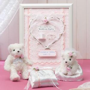 結婚式にお揃い手作りキット「天使のホワイトベア・ピンク リングピロー&額付ウェルカムボードセット」TAK-TW1-RP7-HW19|hanakobo-wedding