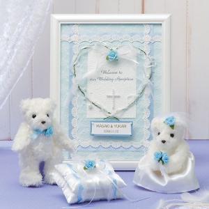 結婚式にお揃い手作りキット「天使のホワイトベア・ブルー リングピロー&額付ウェルカムボードセット」TAK-TW2-RP8-HW20|hanakobo-wedding