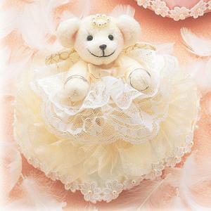 結婚式の手作りキット「ハートのリングピロー・クリーム」ティディーベアのリングピローTAK-WW103|hanakobo-wedding