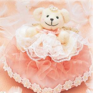 結婚式の手作りキット「ハートのリングピロー・ピンク」ティディーベアのリングピローTAK-WW104|hanakobo-wedding