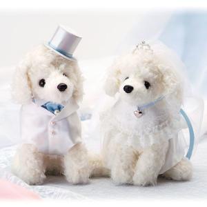 結婚式の手作りキット「ホワイトプードル・ブルー」ウェディングドッグTAK-WW107|hanakobo-wedding