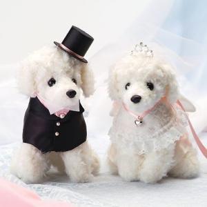 結婚式の手作りキット「ホワイトプードル・ピンク」ウェディングドッグTAK-WW108|hanakobo-wedding