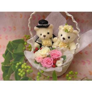 プリザーブドのブライダルベア 結婚祝い プレゼント 花 プリザーブドフラワー ギフトセット クリアケース入り ウェディングベア ぬいぐるみ ブライダルギフト|hanaland87