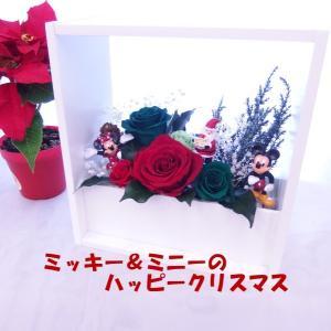ミッキー&ミニーのフレームアレンジ プリザーブドフラワー クリスマス 赤バラ 緑バラ 花 ギフト クリアケース 額 誕生日 結婚祝 新築祝 クリスマスプレゼント|hanaland87