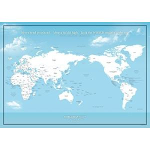 国名と首都が分かる 大きな世界地図ポスター / 空色 / ミニマルマップ (英語・かな, A1サイズ)|hanamaru-store