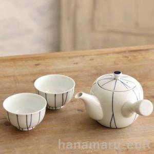 波佐見焼 白磁 急須+ゆのみ2個セット 手描き線 重山陶器 茶こし付き 湯呑み セット hanamaru-y